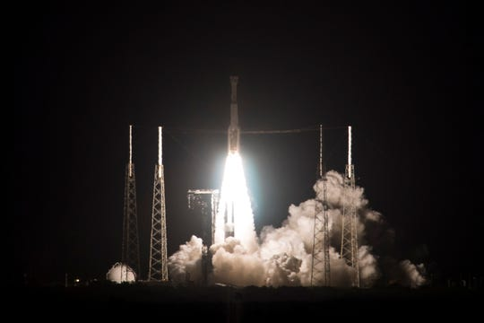 A United Launch Alliance Atlas V rocket with Boeing's CST-100 Starliner spacecraft launches from Space Launch Complex 41, Friday, Dec. 20, 2019, at Cape Canaveral Air Force Station in Florida. Boeing's new Starliner capsule rocketed toward the International Space Station on its first test flight Friday, a crucial dress rehearsal for next year's inaugural launch with astronauts.