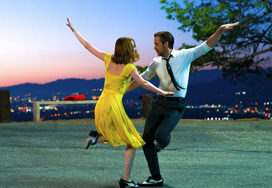 "Emma Stone and Ryan Gosling in ""La La Land."""