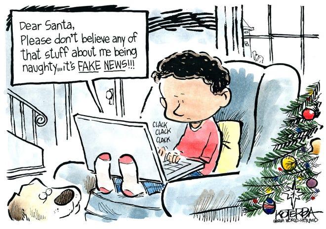 Jeff Koterba December 18, 2016.Fake News Santa
