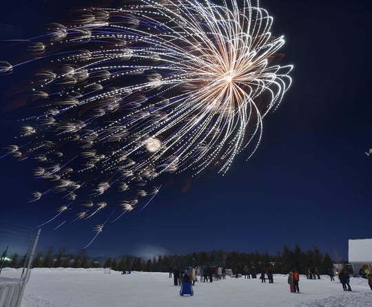 Fireworks above the Teresa K. Hilander ice rink at the Sister Bay Sports Complex are a traditional part of the New Year's Eve celebration in the village.