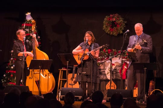 """Rich Higdon, Katie Dahl and Eric Lewis, from left, play one of Northern Sky Theater's """"Home for the Holidays"""" concerts in 2017. The three musicians reunite for six new """"Holidays"""" concerts for Northern Sky from Dec. 27 to 31 at the company's new Gould Theater."""