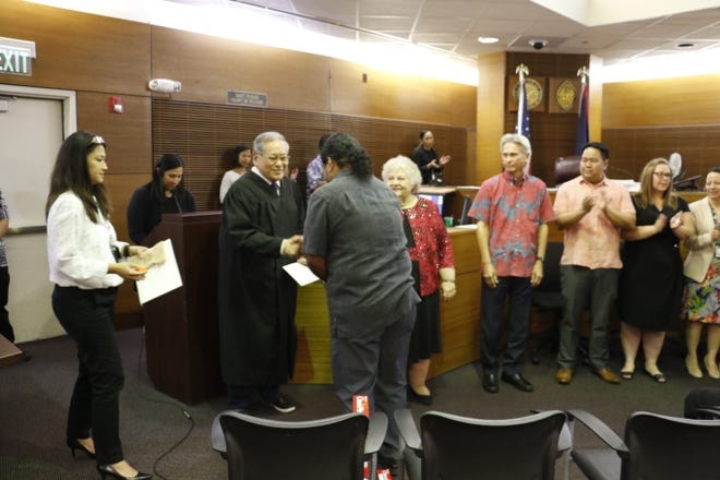Seven people completed the Driving While Impaired Treatment Court Program and a graduation was held on Dec. 20, 2019.