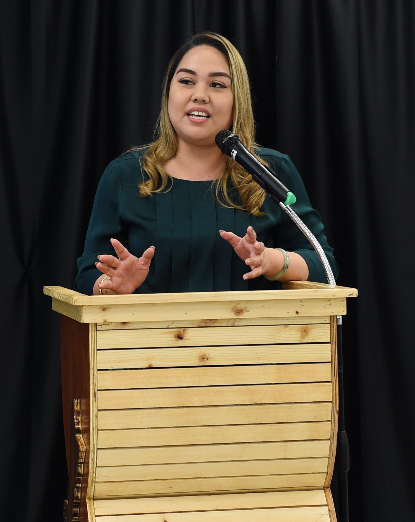 Sen. Amanda Shelton during the Guam Community College Ship Repair Transportation Boot Camp ll Completion Ceremony at GCC in Mangilao, Dec. 20, 2019.