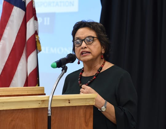 Gov. Lou Leon Guerrero speaks during the Guam Community College Ship Repair Transportation Boot Camp ll Completion Ceremony at GCC in Mangilao, Dec. 20, 2019.