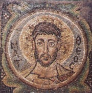 The mosaic of the Apostle Matthew, one of four sixth-century mosaics that were at the center of a lawsuit involving the Republic of Cyprus and Peg Goldberg, a Hamilton County art dealer.