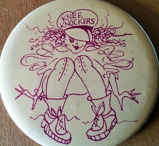 """This """"official"""" badge worn by members of the """"Knee Knockers"""" was designed for the group by Judy Clark, one of its members"""