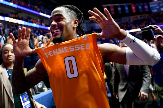 Tennessee guard Jordan Bone (0) celebrates after Tennessee's 82-78 victory against Kentucky in the SEC Tournament at Bridgestone Arena in Nashville on Saturday, March 16, 2019.