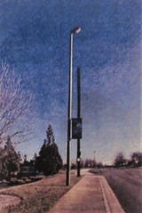 An example of a small cell tower (right) was presented to MPC by AT&T in June. The towers can be anywhere from 26 to 43 feet in height. Initially proposed for Herron Road, the company later moved it to Parkside Drive after a problem with the application.