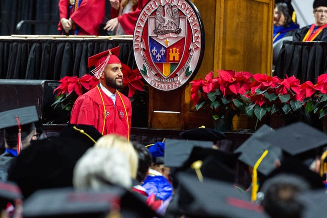 The University of Louisiana holds commencement ceremony at the Cajundome. The commencement speaker is Claire Babineaux-Fontenot. She is the CEO of Feeding America and oversees the nation's largest domestic hunger-relief organization and second-largest U.S. charity.  Friday, Dec. 20, 2019.