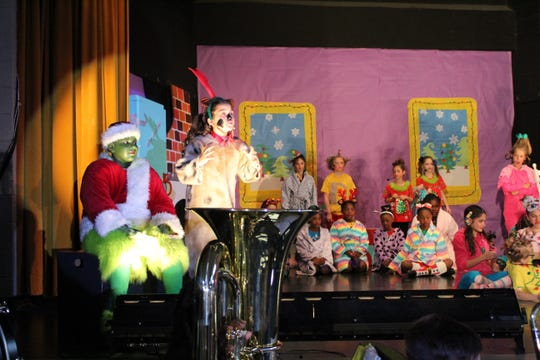 """Fifth-graders in J. Wallace James Elementary's  Arts Academy perform """"The Grinch"""" to a full house Thursday, Dec. 19, 2019."""