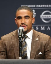 Dec 14, 2019; New York, NY, USA; Oklahoma sooners quarterback and Heisman finalist Jalen Hurts speaks to the media during a pre-ceremony press conference at the New York Marriott Marquis. Mandatory Credit: Brad Penner-USA TODAY Sports