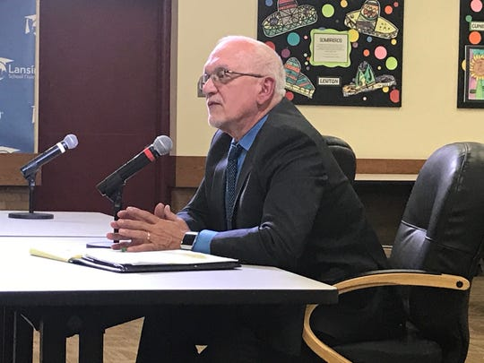 Samuel Sinicropi answers questions during his interview at the Lansing School District Board of Education meeting Thursday, Dec. 19, 2020. Trustees hired him as the district's interim superintendent.