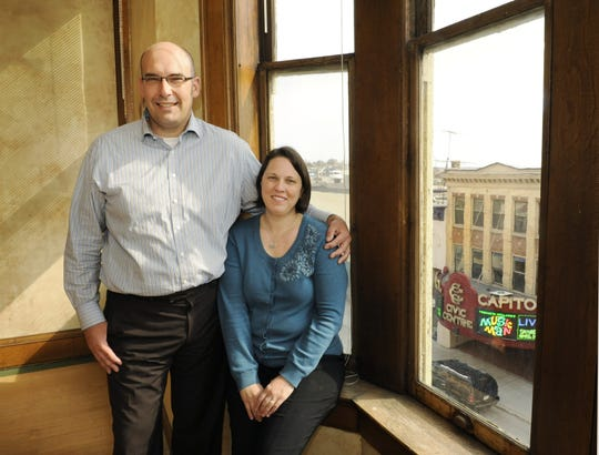 FILE - Anton Doneff Sr. and his wife Michelle in the century-old Schuette Building, 804 Jay St., which was built in 1902 and was one of the state's first department stores.