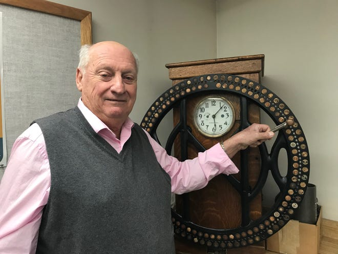 "Bill ""Robbie"" Robertson, 76, used a time clock just like this one from 1962 until 1991 first as Copperweld and now Arcelormittal. Robertson took a voluntary layoff and will retire in January after 57 years."