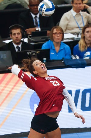 Molly Haggerty, shown in a previous match, led UW with 17 kills Monday night against Florida.