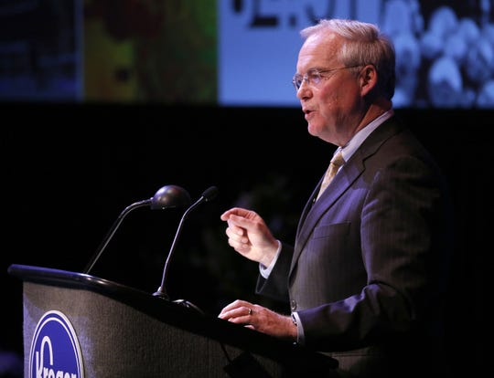 Kroger CEO Rodney McMullen speaks during a recent Kroger annual shareholders meeting. Kroger and its Milwaukee-based Roundy's subsidiary operates the Pick 'n Save, Metro Market and Copps stores in Wisconsin. The company is the grocery market share leader in Wisconsin.