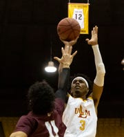 Guard JD Williams (3) came back from a six-point outing at Coastal Carolina to score a game-high18 points on 6-of-11 shooting and four rebounds in ULM's 67-56 loss to Georgia Southern at Hanner Fieldhouse on Thursday night.