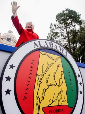 Alabama Governor Kay Ivey waves as she watches her Inaugural Parade from the steps of the state capitol building  in Montgomery, Ala., on Monday January 14, 2019.