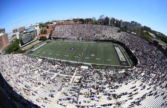 General view of Vanderbilt Stadium in Nashville, Tennessee, during the second half a game between LSU and Vanderbilt on Sept. 21, 2019.