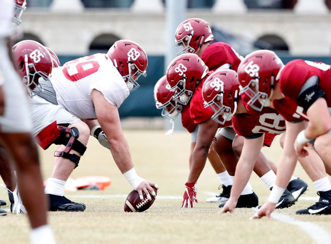 Alabama junior center Landon Dickerson (69) readies to snap the ball against the defense during a recent bowl practice Monday, Dec. 16, 2019 from the Thomas-Drew Practice Fields in Tuscaloosa. (Photo by Robert Sutton/Alabama athletics)