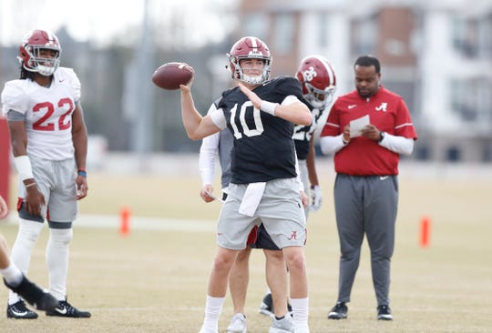 Alabama sophomore  quarterback Mac Jones passes during a recent bowl practice Monday, Nov. 16, 2019 in Tuscaloosa. (Photo by Robert Sutton/Alabama athletics)