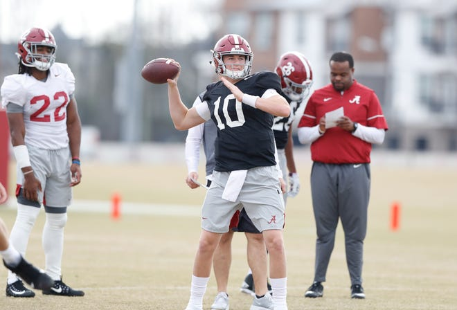 Alabama sophomore  quarterback Mac Jones passes during a recent bowl practice Monday, Nov. 16, 2019 in Tuscaloosa. (Photo by Robert Sutton/Alabama athletics)