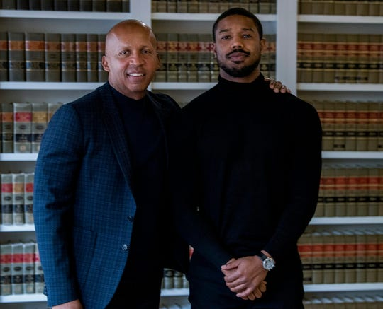 Bryan Stevenson, founder and Executive Director of the Equal Justice Initiative, left, poses with actor Michael B. Jordan, who portrays Stevenson in the movie Just Mercy, at the EJI offices in Montgomery, Ala., on Friday December 20, 2019.