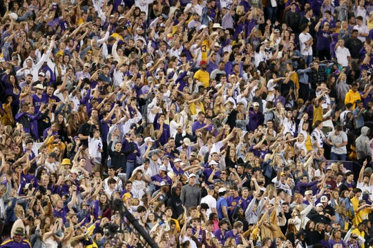 LSU fans cheer during a game against Florida at Tiger Stadium i Baton Rouge, La., on Oct. 12, 2019.