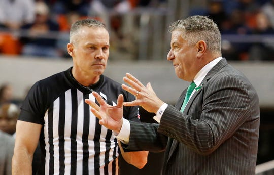 Dec 19, 2019; Auburn, AL, USA; Auburn Tigers head coach Bruce Pearl questions a call during the second half against the North Carolina State Wolfpack at Auburn Arena. Mandatory Credit: John Reed-USA TODAY Sports