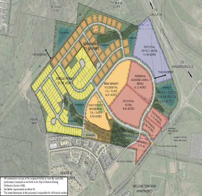McCain's Station, totaling more than 130 acres, would be located at Highway 386 and Big Station Camp Boulevard.