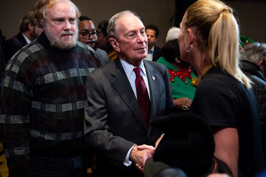 Democratic Presidential candidate Mike Bloomberg greets the crowd after speaking during a campaign event at Woolworth on 5th in Nashville, Tenn., Thursday, Dec. 19, 2019.