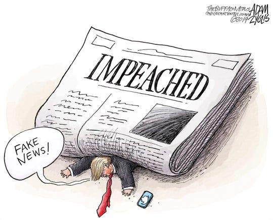 """Trump calls """"Impeached"""" fake news."""