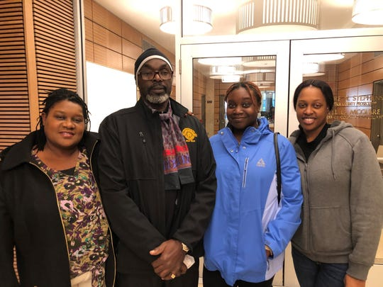 The family  of Sarah Butler outside the prosecutor's office on the day her daughter's killer, Khalil Wheeler-Weaver, was convicted. From left, her parents Lavern and Victor Butler and her sisters Aliyah Butler and Bassania Daley. Dec. 19, 2019.