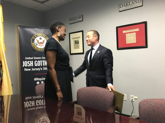 U.S. Congressman Josh Gottheimer meets with Haworth resident Opeyemi Sowore, the wife of journalist Omoyele Sowore, who has been held in Nigeria for 139 days.