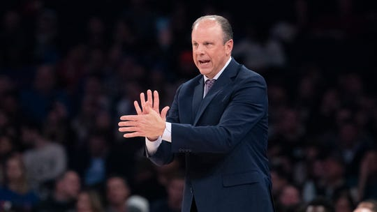 New York Knicks interim head coach Mike Miller gestures in the first half of an NBA basketball game against the New York Knicks, Saturday, Dec. 7, 2019, at Madison Square Garden in New York.