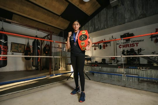 Ariana Carrasco is pictured at her gym, House of Pain, in Las Cruces on Friday, Dec. 20, 2019. Last year Carrasco won the National Junior Olympics in the132-pounddivision for the second straight year.