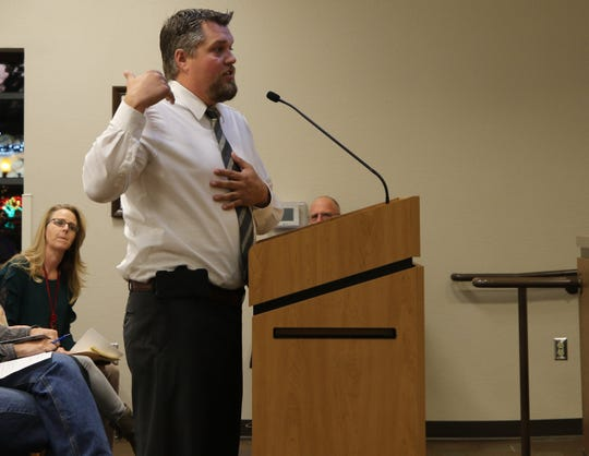 Trent Cornum of CoMac, LLC makes one final pitch for the La Huerta Townhomes Development Dec. 19 before the Carlsbad City Council.