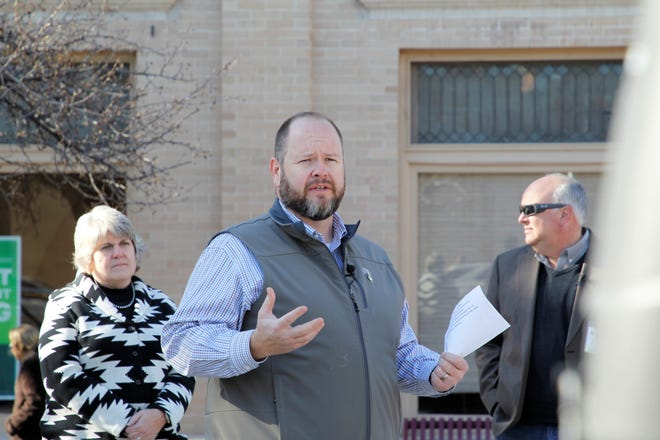 Farmington Mayor Nate Duckett, seen in this file photo speaking at the groundbreaking ceremony for the Complete Streets Project in Orchard Park in downtown Farmington on Dec. 20, 2019, released a hopeful message this month to the community via video.