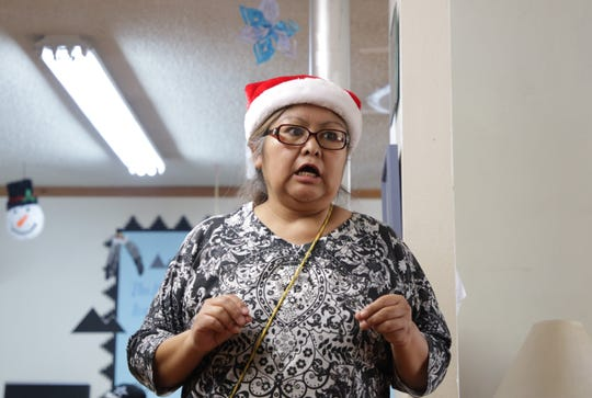 Healing Circle Drop-In Center Program Coordinator Caroline Padilla helped organize the center's Christmas celebration on Dec. 19 in Shiprock.