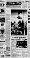 "An illuminated cross that appeared in the back window of a Thermal home in 2002 attracted crowds and crowds of the faithful, who believed the cross was a sign from God. The Desert Sun ran a special report on the ""Cross of light."""