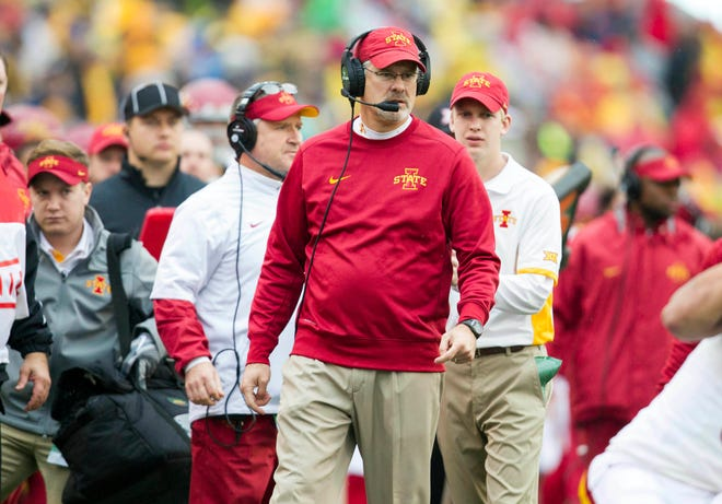 Nov. 28, 2015: Iowa State Cyclones head coach Paul Rhoads watches from the sidelines during the first quarter against the West Virginia Mountaineers at Milan Puskar Stadium.