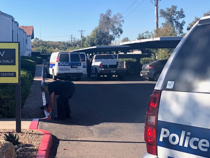 Police conduct an investigation at the Arcadia Walk Apartments where Arizona Rattlers player Lance McDowdell was found with a gunshot wound and later died Friday, Dec. 20, 2019.