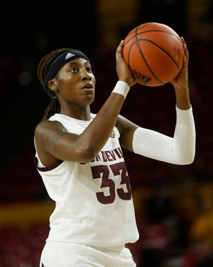 ASU's Ja'Tavia Tapley (33) seen here in a December game in Tempe, scored 20 points in the Sun Devils' win at Washington St., on Sunday.