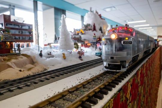 A special edition LGB model train drives through part of a Christmas train display at McLaren Port Huron Friday, Dec. 20, 2019.