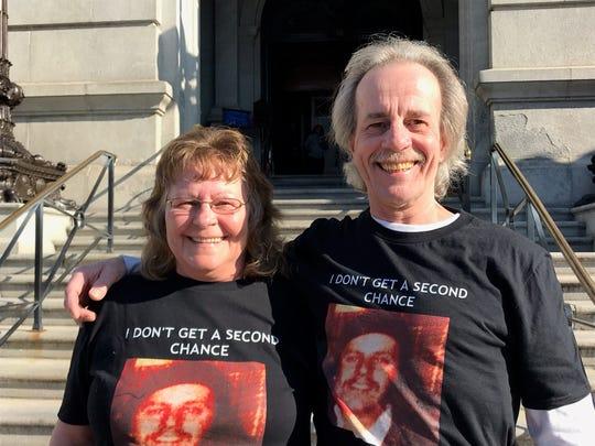 Deb Zink Whetzel and Joe Zink spoke on Dec. 20, 2019, at the pardon hearing of Robert Altland, who murdered their brother, John Zink, in York County in 1979. Altland was denied clemency. (Liz Evans Scolforo photo)