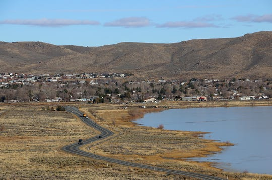 The Cold Springs community, located just to the northwest of Reno, is seen next to White Lake on Dec. 19, 2019.