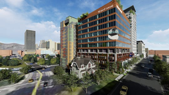 Renderings of CAI Investment's planned 20-story luxury boutique hotel in downtown Reno.