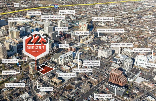 An aerial graphic of the project site for CAI Investment's planned 20-story luxury boutique hotel in downtown Reno and neighboring properties.