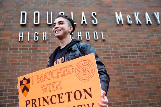 McKay High School student Joshua Arce Masis at McKay High School in Salem on Dec. 19, 2019, just over a week after finding out he will attend Princeton University in 2020.