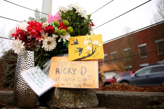 A memorial is set up on a median for Rodric Kenyon Drolshagen 'Ricky D.', who died after being hit by a car while walking with his dog across Front St. near Riverfront Park in Salem on Dec. 4. Photographed on Front St. NE in Salem on Dec. 17, 2019.